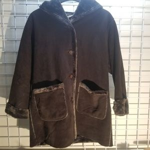St John's Bay Brown Faux Suede Shearling Coat sz L
